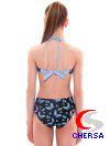 Купальник для плавания совместный детский с завязками на шее