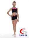 Шорты гимнастические из хлопка с яркими кантами и вставкой по бокам