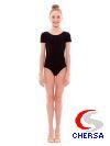 Купальник гимнастический из хлопка с коротким рукавом